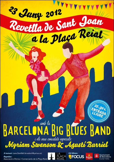 Cartell de la Revetlla de Sant Joan a la Plaça Reial de Barcelona